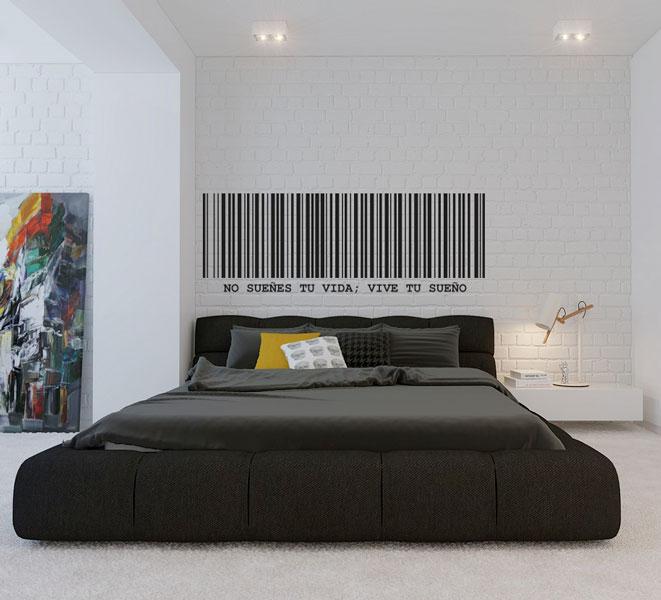Ideas para cabeceros de cama - Cabecero vinilo código de barras