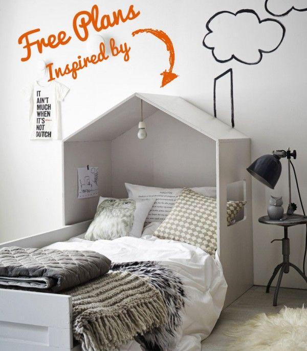 Cabeceros de cama infantiles con forma de casa