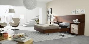 Cabecero de cama de madera liso color wengue