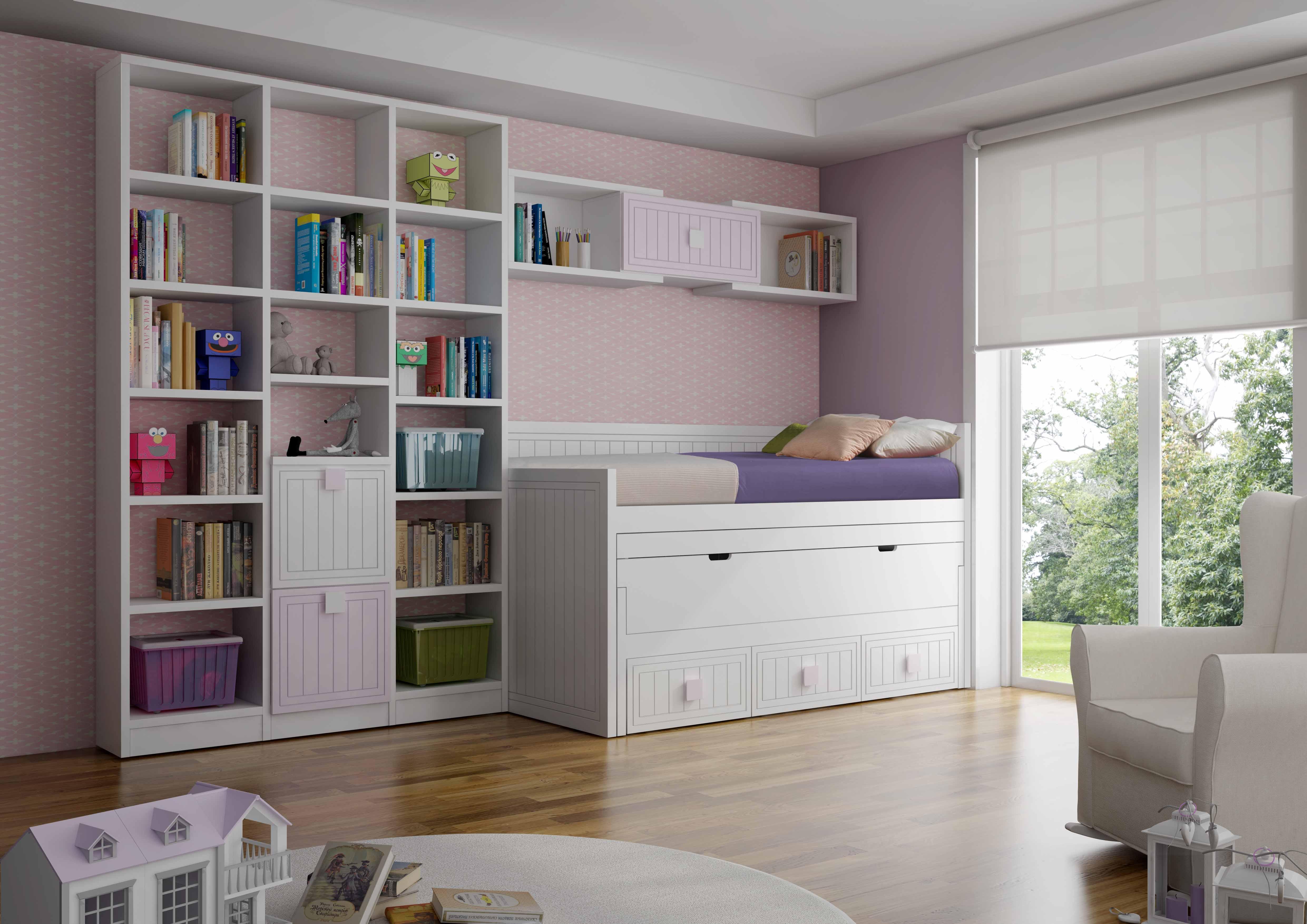 Cama juvenil compacta otra soluci n al problema de espacio for Cama juvenil con escritorio