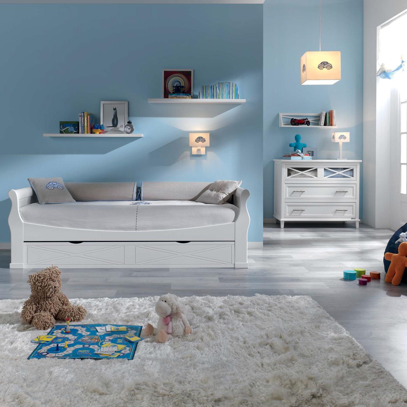 Cama nido blanca para habitaciones infantiles