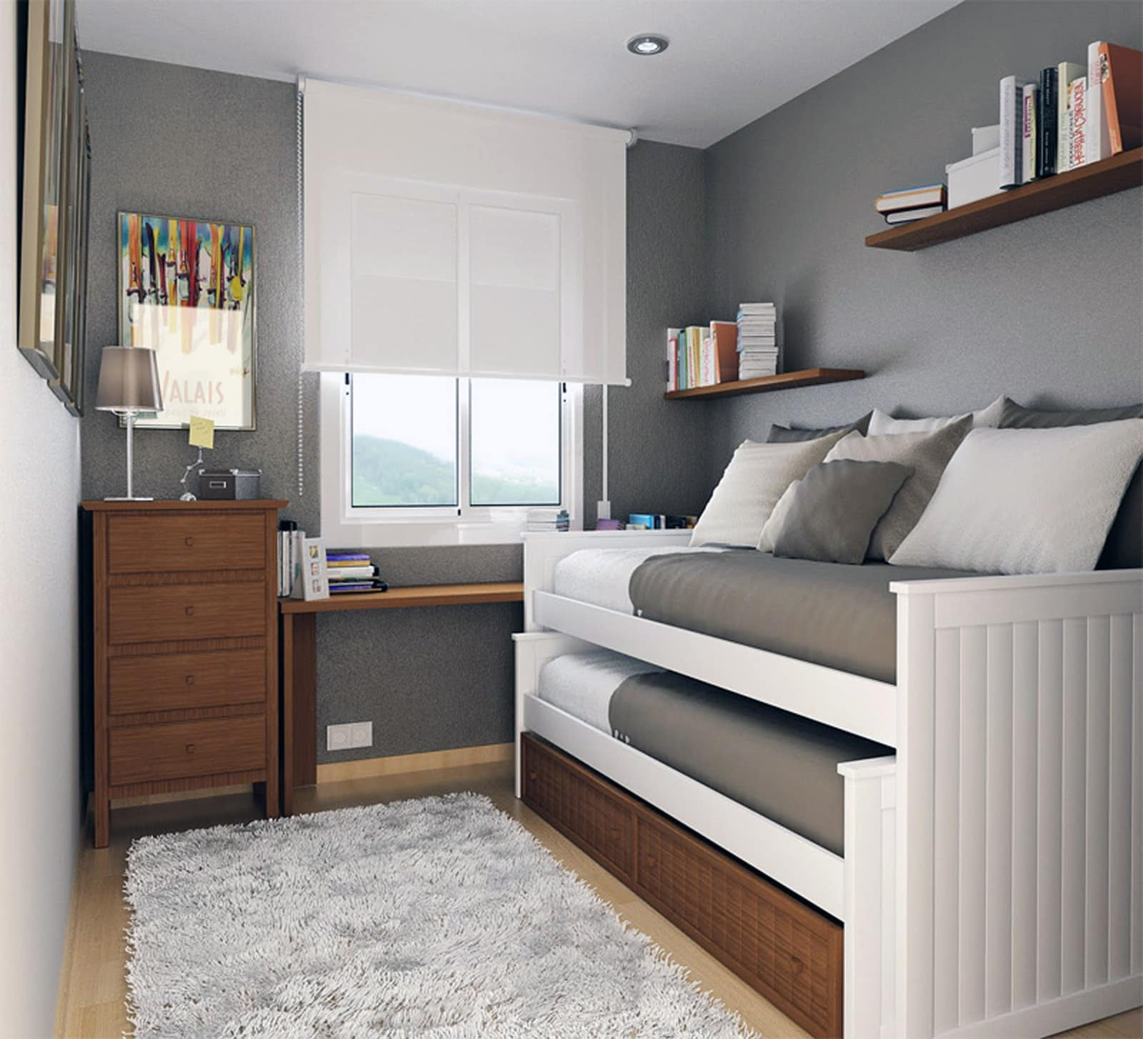 Decorar un dormitorio pequeño individual - Colchón Exprés