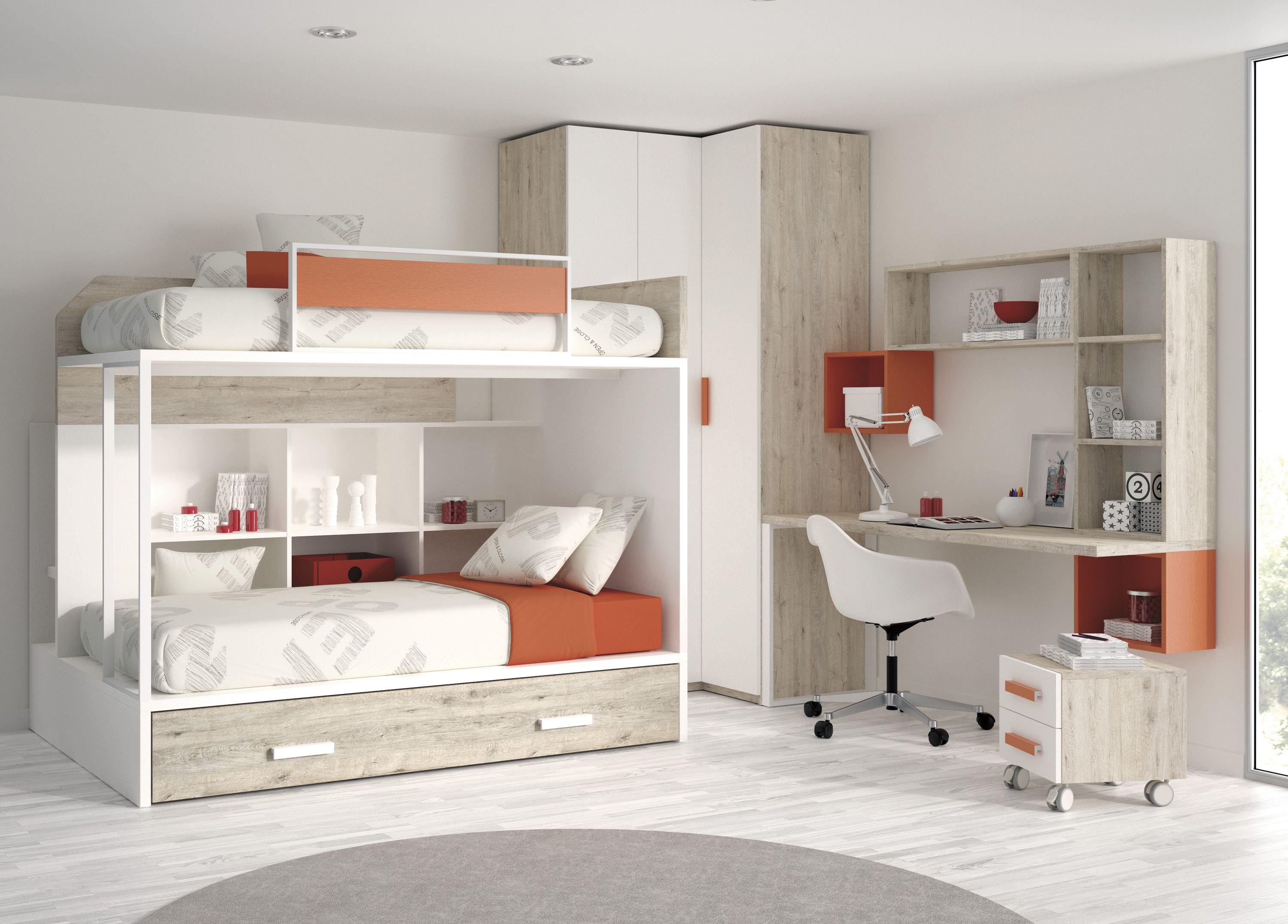 Literas con cama nido para habitaciones infantiles for Cama nido de tres camas