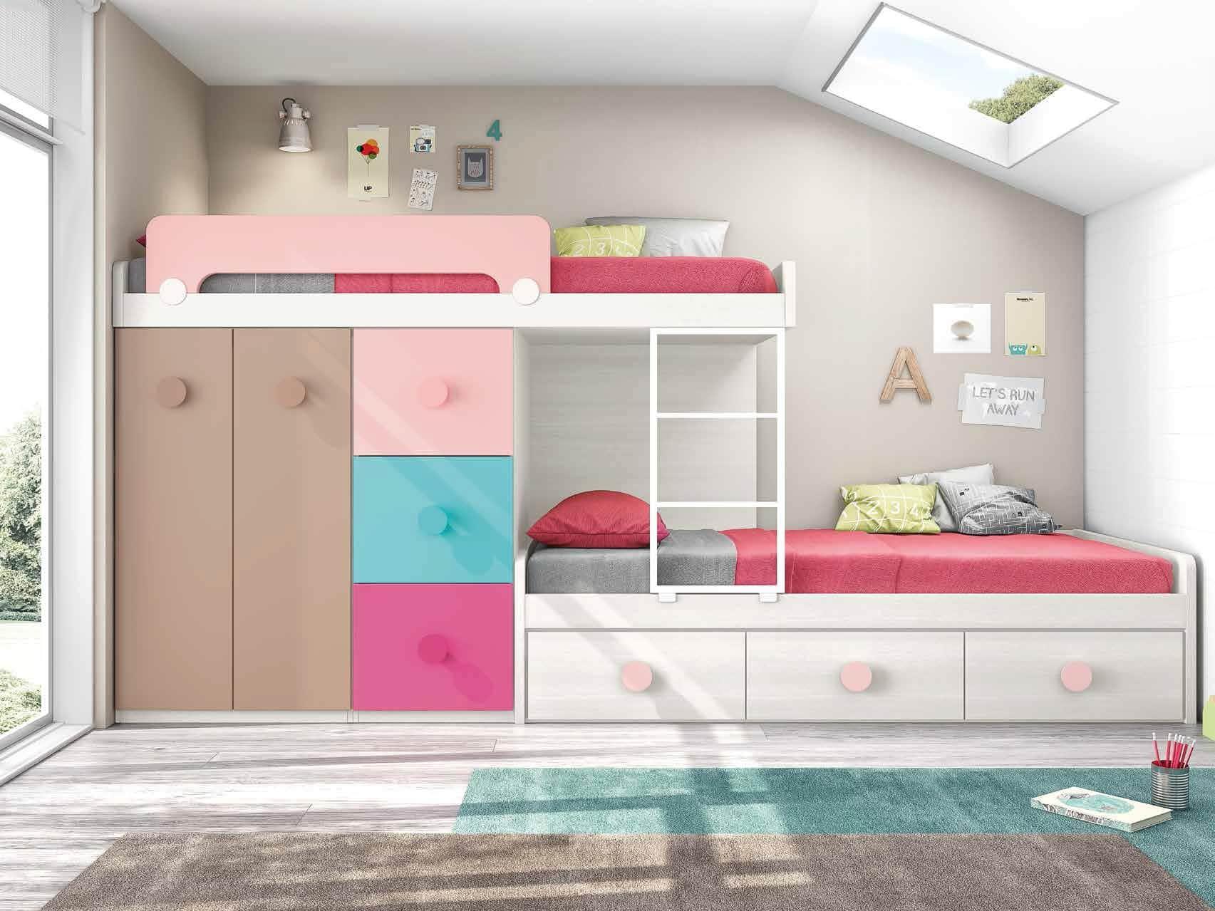 Literas con cama nido para habitaciones infantiles for Habitaciones juveniles completas baratas