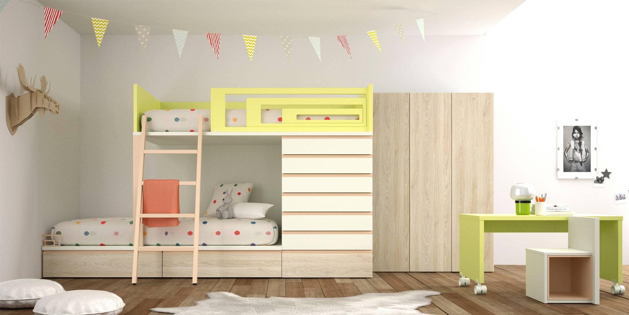Literas con cama nido para habitaciones infantiles - Habitaciones infantiles tren ...