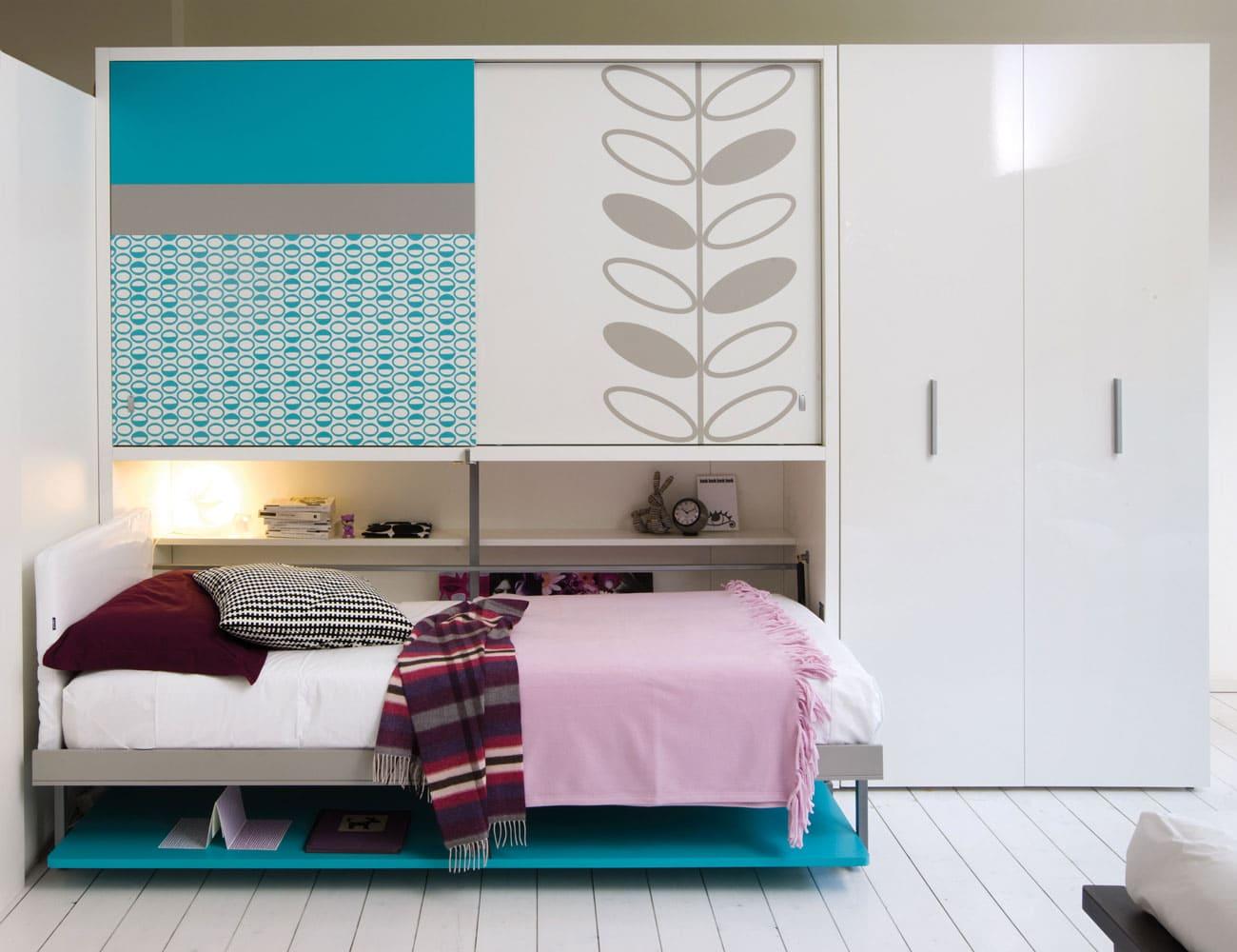 Camas abatibles para dormitorios peque os colch n expr s - Habitaciones juveniles camas abatibles horizontales ...
