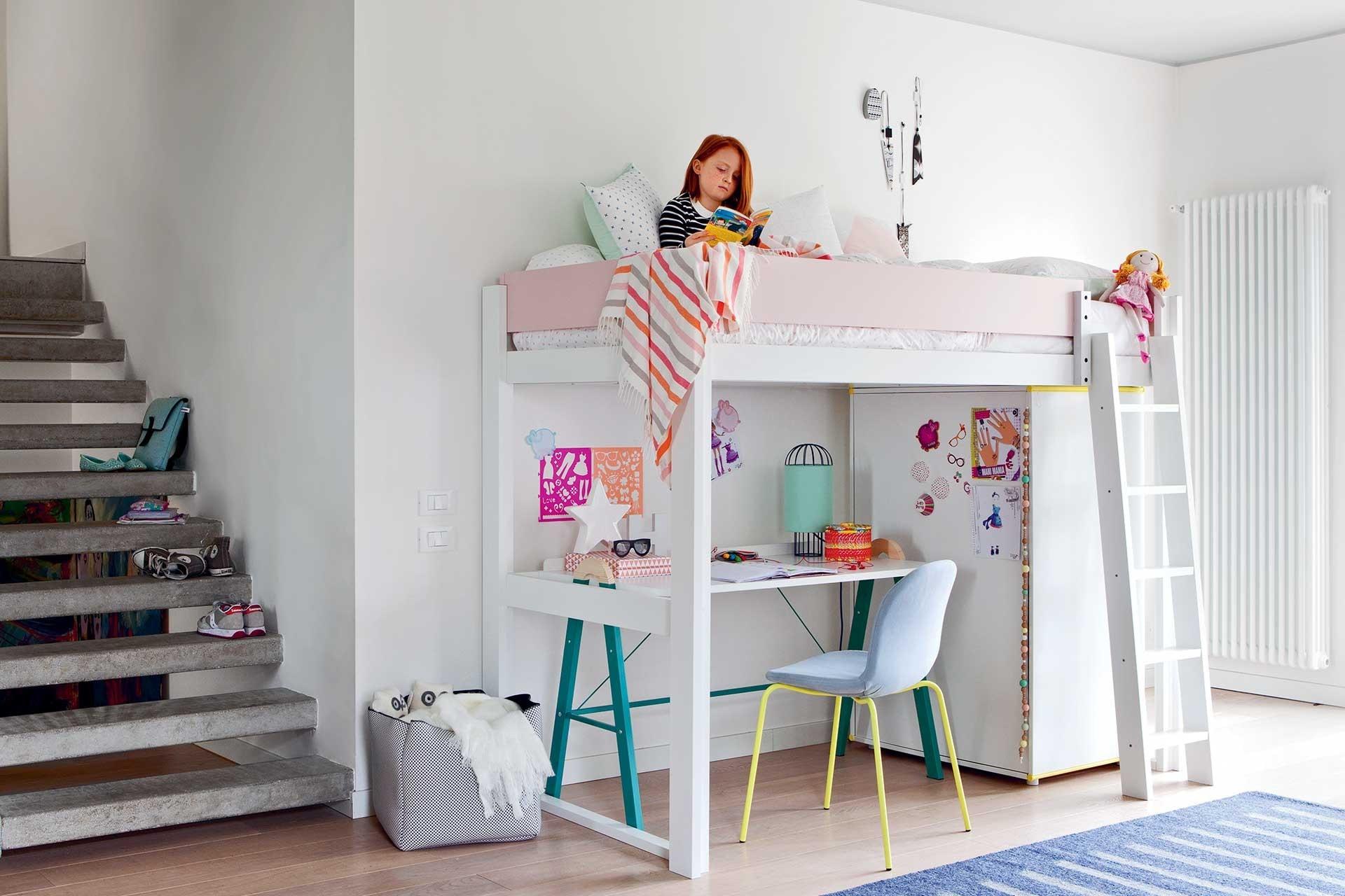 Camas elevadas para los dormitorios juveniles colch n expr s for Habitaciones con camas altas