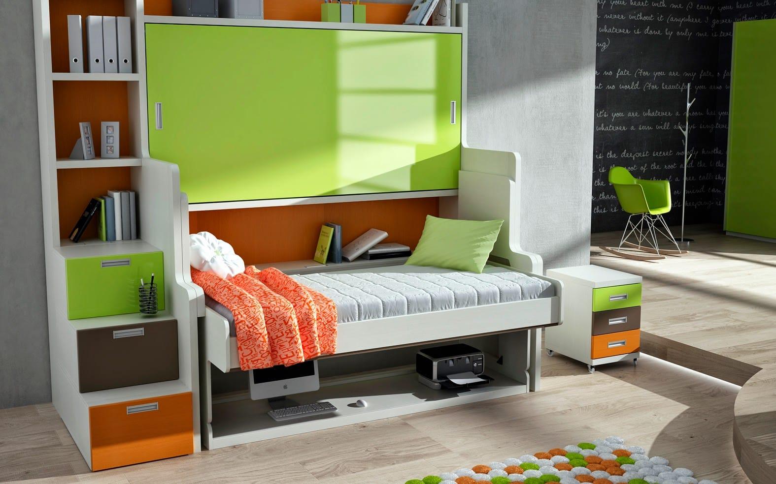 Literas juveniles para habitaciones compartidas colch n for Camas juveniles con escritorio incorporado