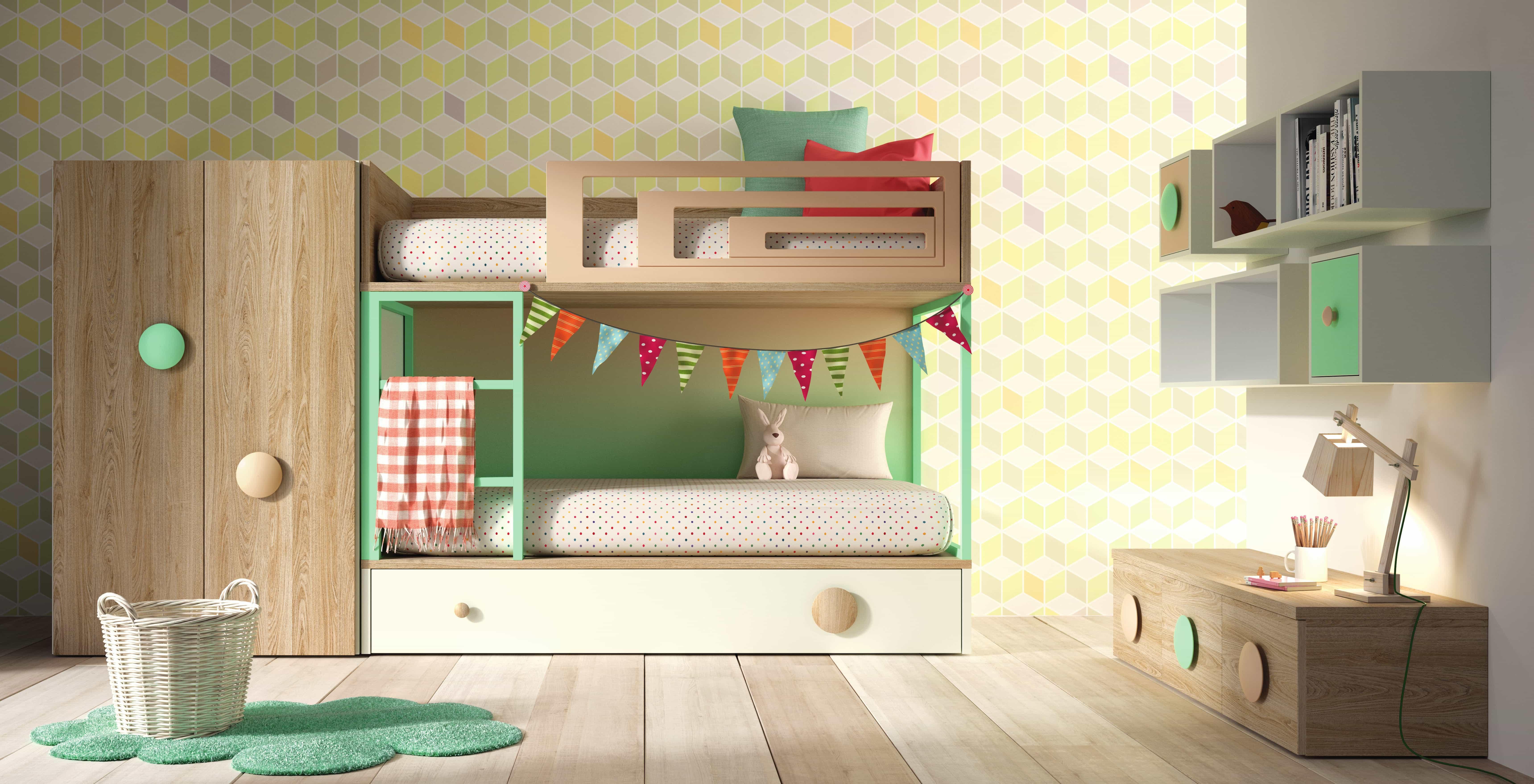 Literas juveniles para habitaciones compartidas colch n - Habitaciones infantiles dobles poco espacio ...