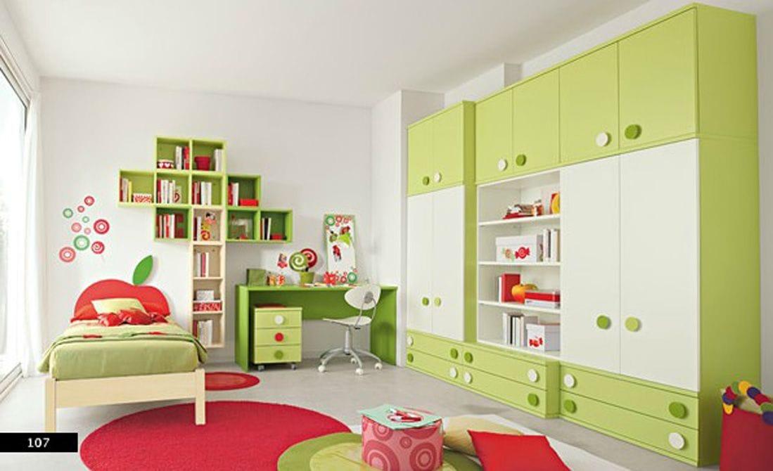 dormitorio verde y rojo