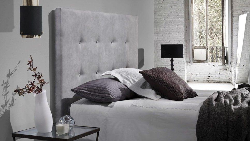 cabecero para cama abotonado en gris