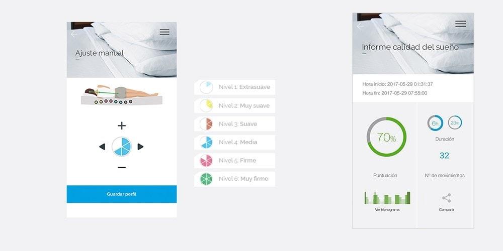 colchón ibed de flex controlado por una app en tu smartphone