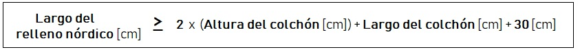Cálculo del largo de un relleno nórdico