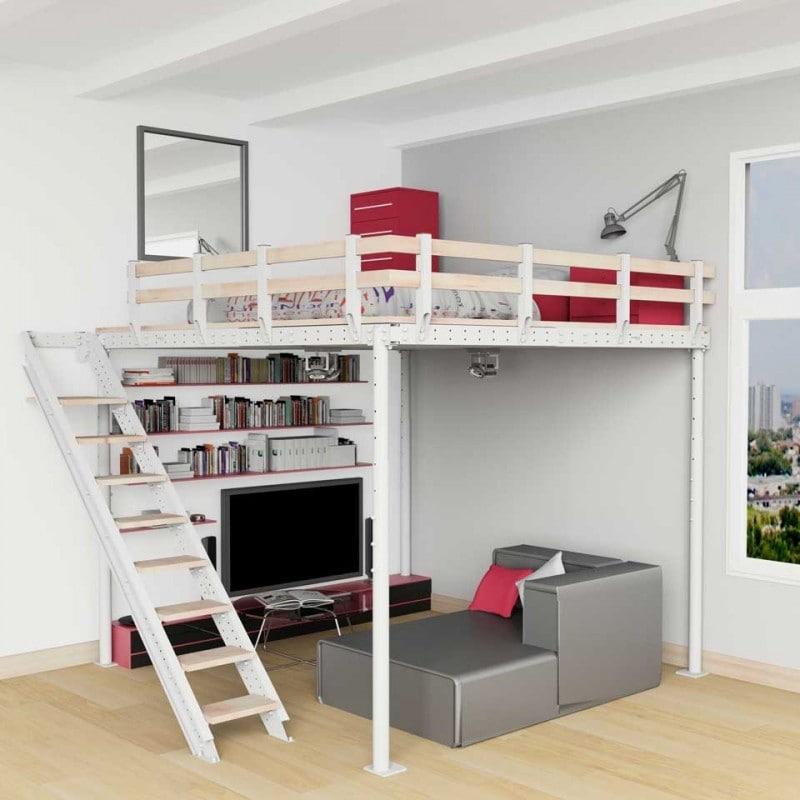 cama alta para habitaciones juveniles pequeñas