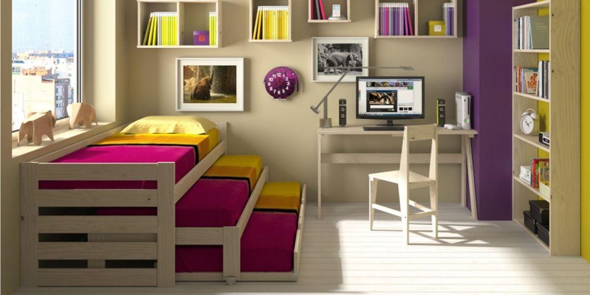 habitaciones con tres camas compactas