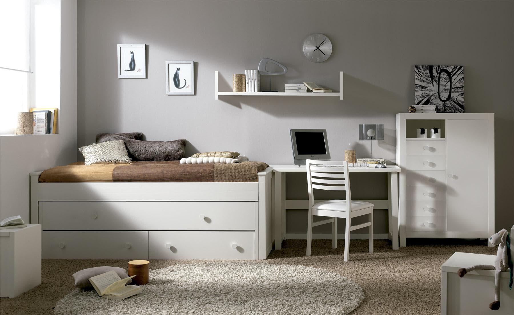 camas compactas para habitaciones dobles infantiles