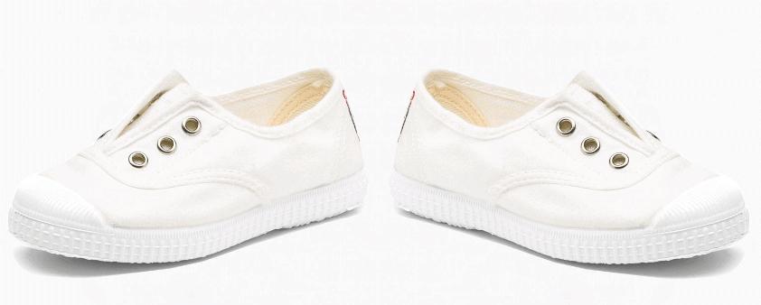 Zapatillas de lona blancas sin cordones