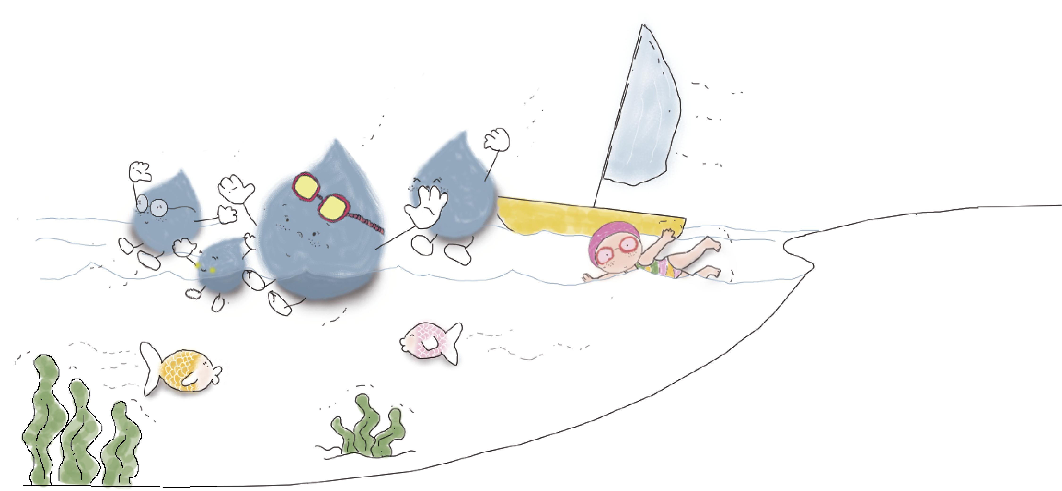 La gotita valiente en el mar