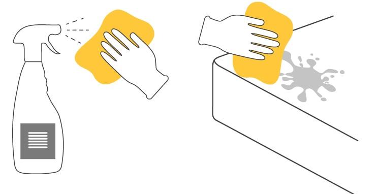 Pulverizar detergente enzimatico sobre un trapo