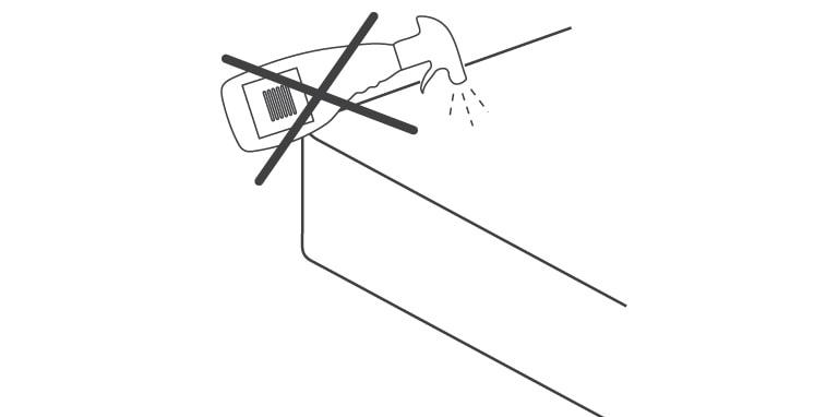 No pulverizar directamente sobre el colchón
