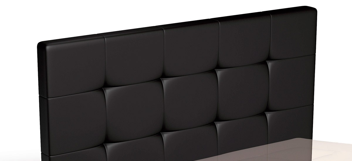 Outlet Cabecero de cama tapizado EcoPiel con Capitone CE Home Grueso H120