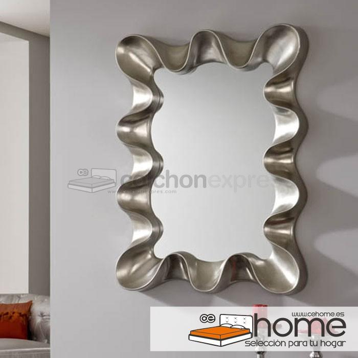 Espejo vintage marco madera silver retro for Espejos de pared madera
